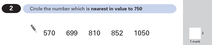 Question 02 Maths KS2 SATs Papers 2000 - Year 6 Past Paper 2, Numbers, Order and Compare Numbers, Subtraction
