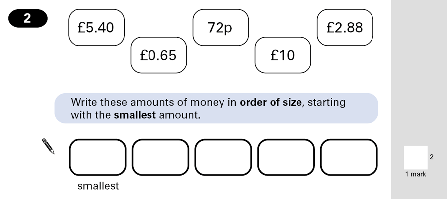 Question 02 Maths KS2 SATs Papers 2001 - Year 6 Past Paper 1, Numbers, Order and Compare Numbers, Decimals, Measurement, Currency Conversions, Money