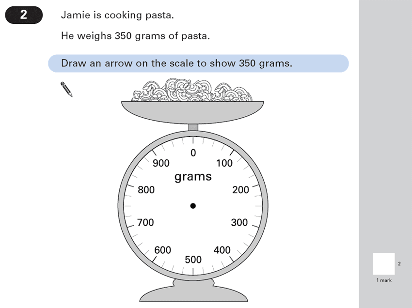 Question 02 Maths KS2 SATs Papers 2003 - Year 6 Past Paper 1, Measurement, Scale reading