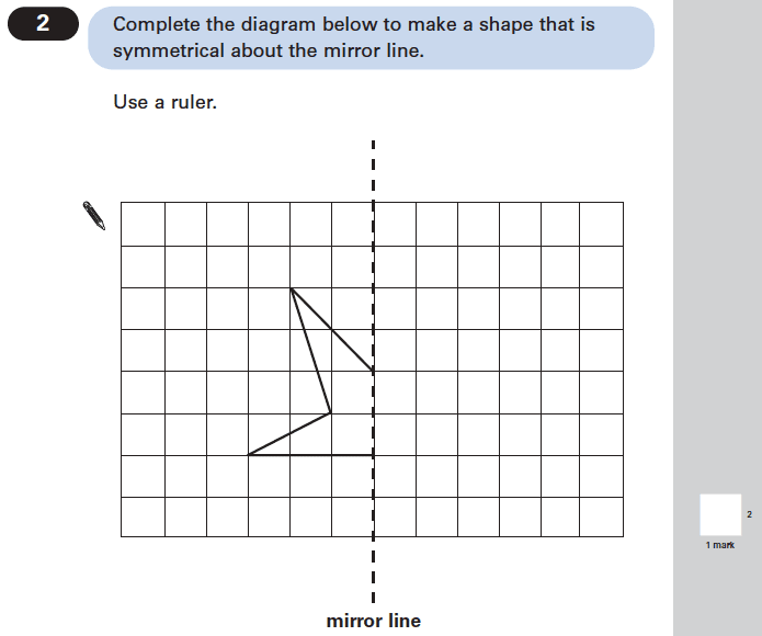 Question 02 Maths KS2 SATs Papers 2004 - Year 6 Exam Paper 2, Geometry, 2D shapes, Reflection