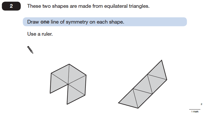 Question 02 Maths KS2 SATs Papers 2006 - Year 6 Past Paper 1, Geometry, 2D shapes, Triangles, Lines of Symmetry