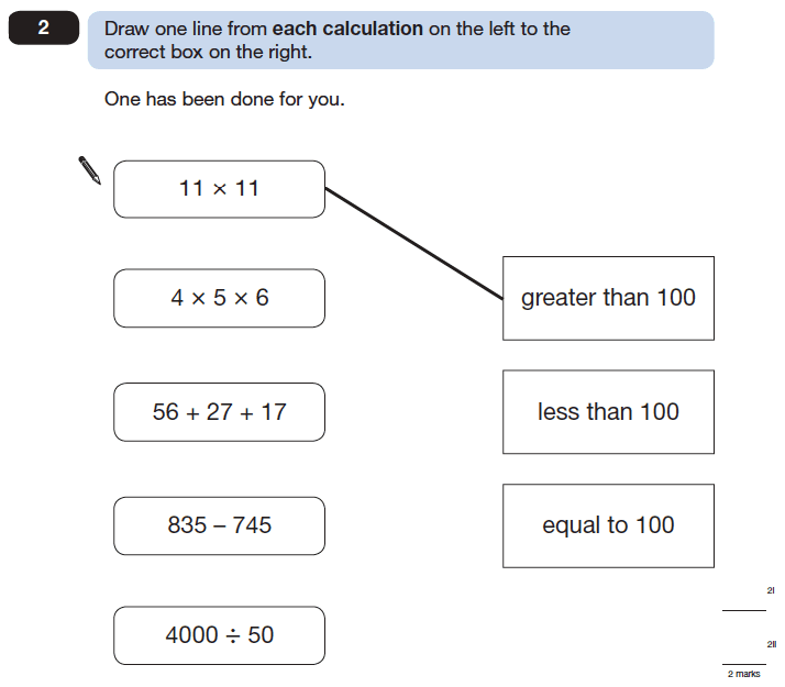 Question 02 Maths KS2 SATs Papers 2006 - Year 6 Past Paper 2, Numbers, Addition, Subtraction, Division, Multiplication