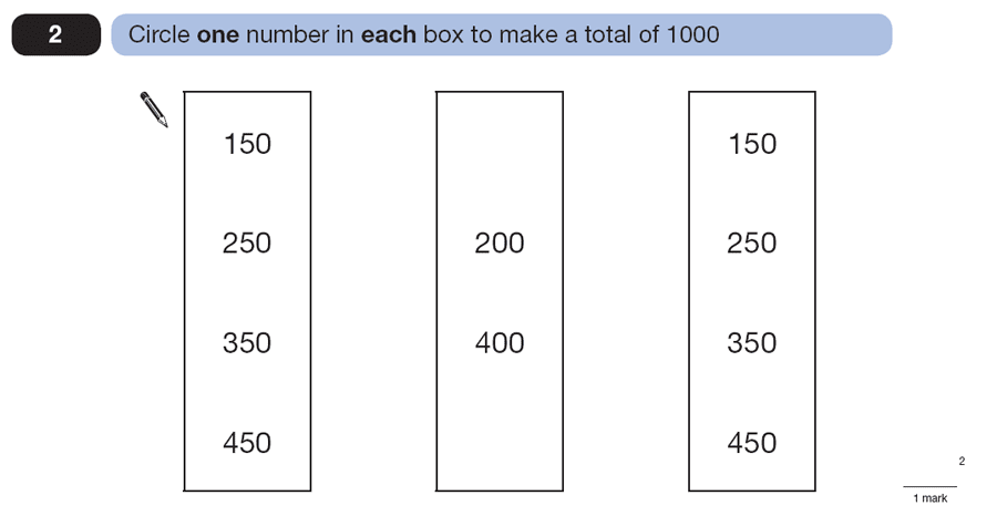 Question 02 Maths KS2 SATs Papers 2007 - Year 6 Sample Paper 1, Numbers, Addition
