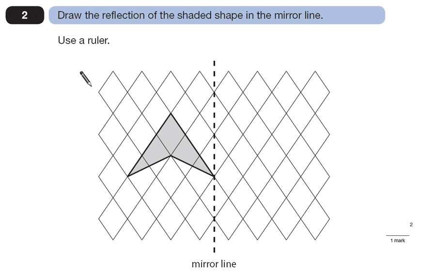 Question 02 Maths KS2 SATs Papers 2007 - Year 6 Sample Paper 2, Geometry, 2D shapes, Reflection