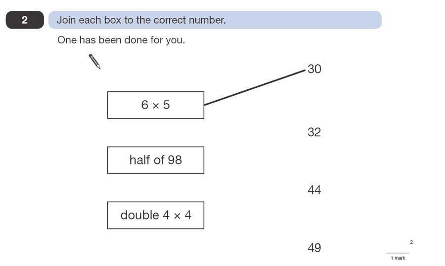 Question 02 Maths KS2 SATs Papers 2008 - Year 6 Sample Paper 1, Numbers, Multiplication, Division