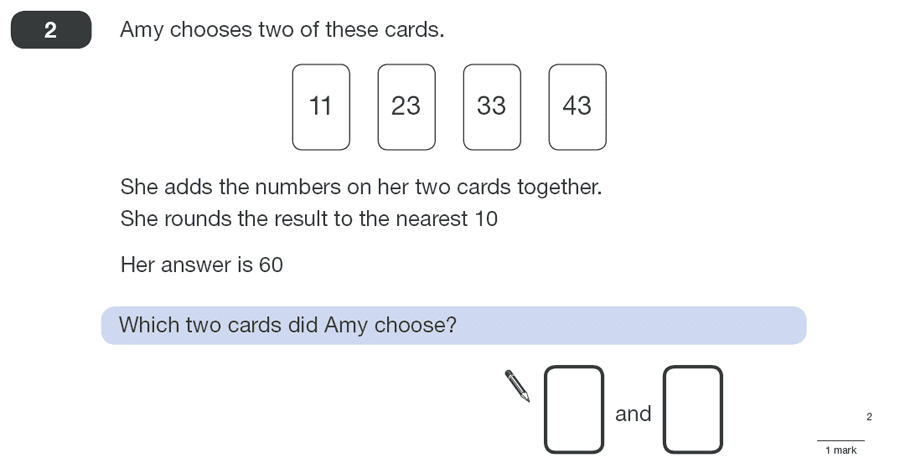 Question 02 Maths KS2 SATs Papers 2010 - Year 6 Sample Paper 1, Numbers, Rounding, Addition