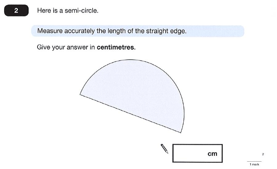 Question 02 Maths KS2 SATs Papers 2012 - Year 6 Sample Paper 2, Measurement, Ruler Measurement