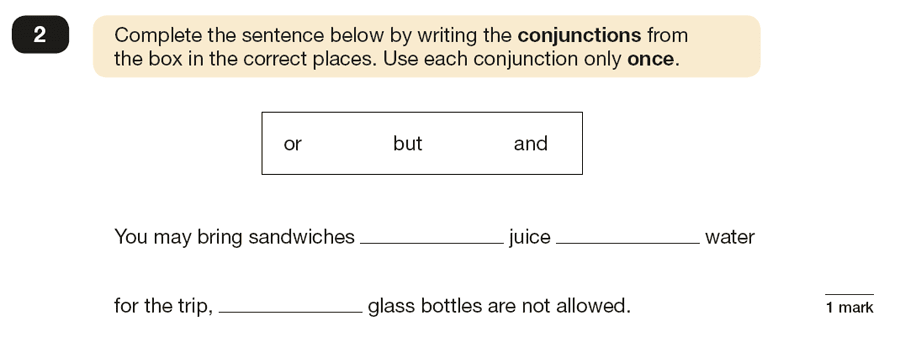 Question 02 SPaG KS2 SATs Papers 2016 - Year 6 English Past Paper 1, Combining words, phrases and clauses