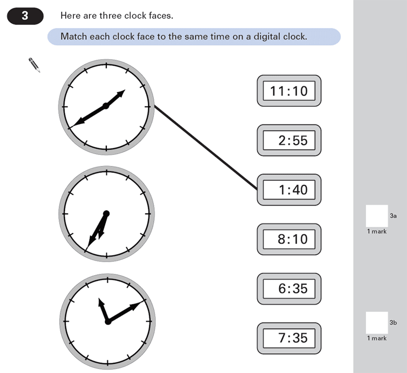 Question 03 Maths KS2 SATs Papers 2000 - Year 6 Sample Paper 2, Time