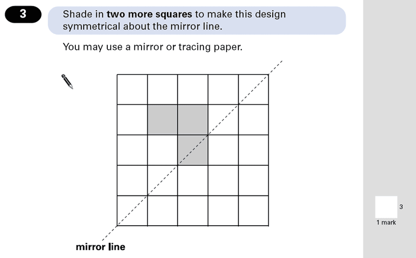 Question 03 Maths KS2 SATs Papers 2001 - Year 6 Sample Paper 2, Geometry, Reflection