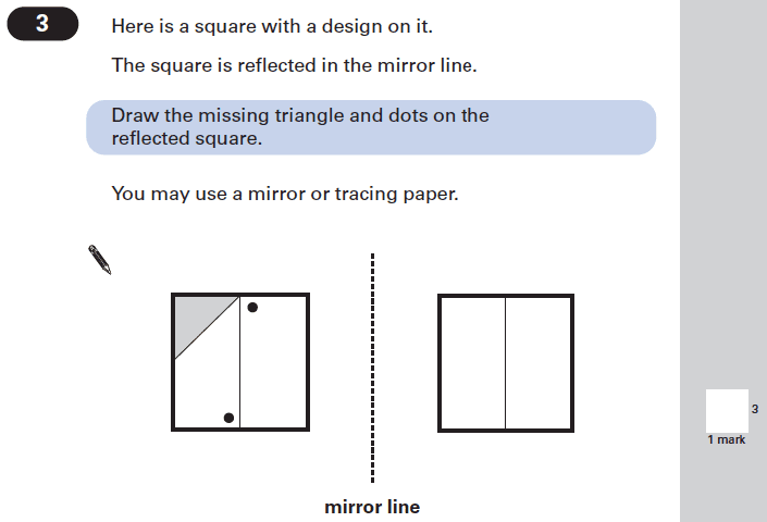 Question 03 Maths KS2 SATs Papers 2002 - Year 6 Sample Paper 1, Geometry, Reflection, 2D shapes, Square