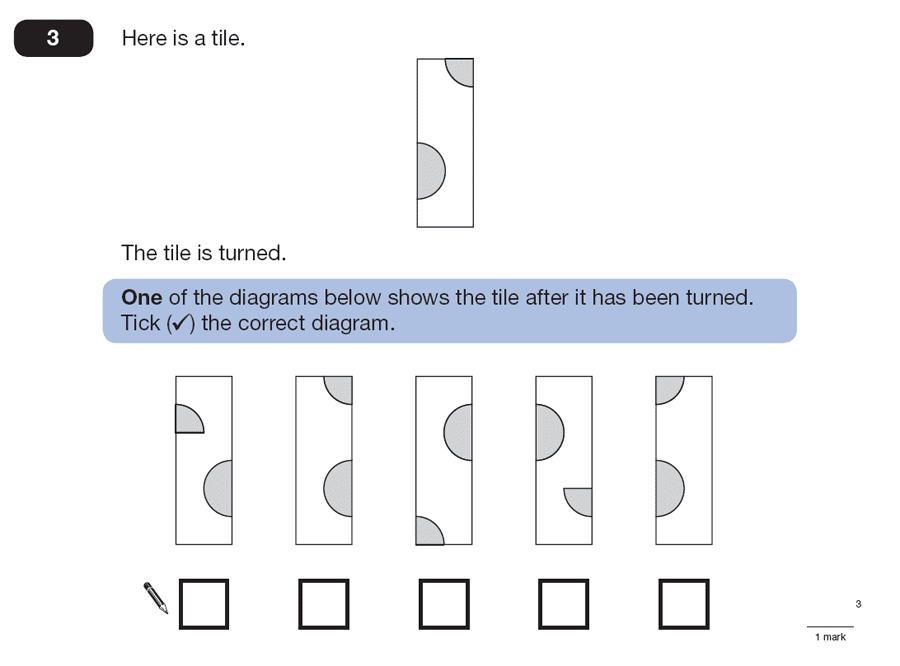 Question 03 Maths KS2 SATs Papers 2007 - Year 6 Practice Paper 1, Geometry, Rotations