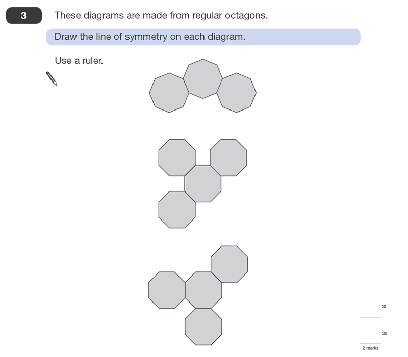 Question 03 Maths KS2 SATs Papers 2011 - Year 6 Exam Paper 2, Geometry, 2D shapes, Polygons, Lines of Symmetry