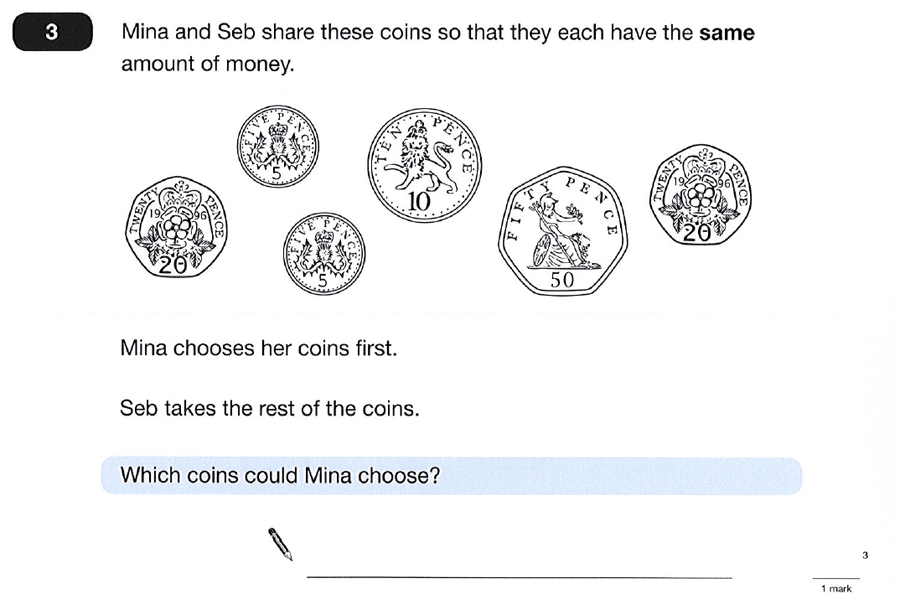 Question 03 Maths KS2 SATs Papers 2012 - Year 6 Practice Paper 2, Logical Problems, Money