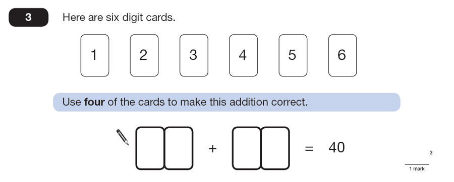 Question 03 Maths KS2 SATs Papers 2013 - Year 6 Practice Paper 2, Numbers, Addition, Logical Problems