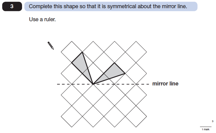 Question 03 Maths KS2 SATs Papers 2014 - Year 6 Sample Paper 2, Geometry, Reflection, Lines of Symmetry