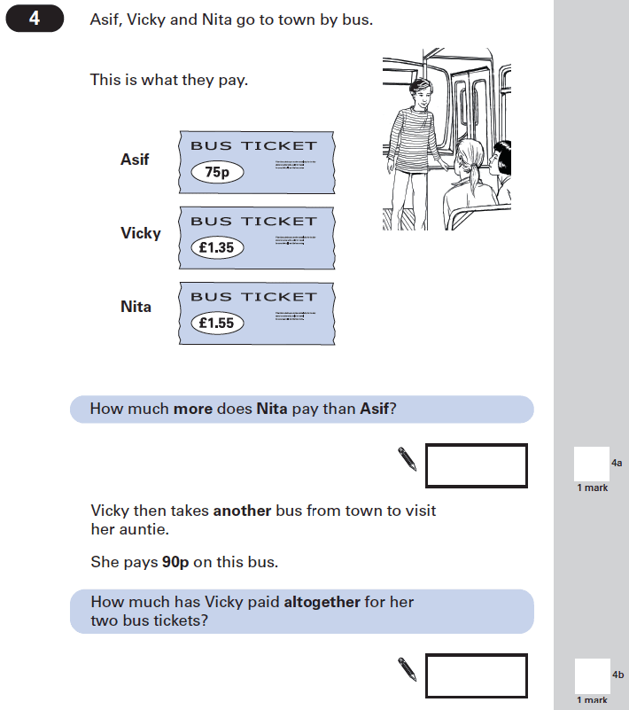 Question 04 Maths KS2 SATs Papers 2002 - Year 6 Practice Paper 1, Numbers, Decimals, Word Problems, Measurement, Currency Conversions, Money
