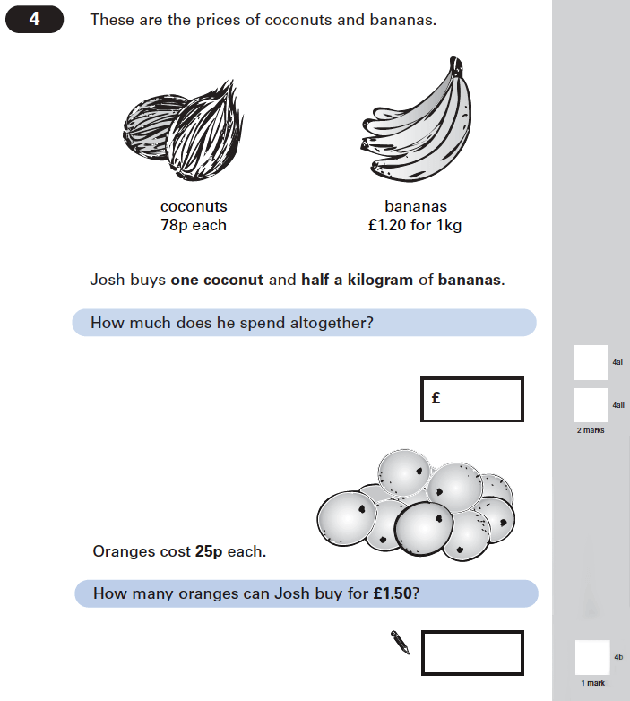 Question 04 Maths KS2 SATs Papers 2005 - Year 6 Exam Paper 2, Numbers, Addition, Decimals, Division, Word Problems, Money