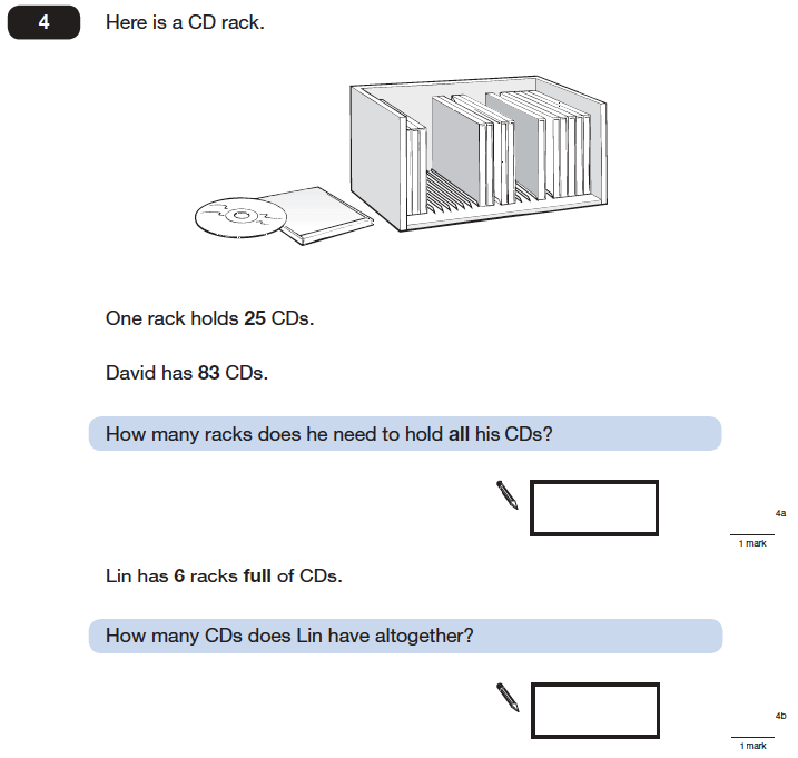 Question 04 Maths KS2 SATs Papers 2006 - Year 6 Exam Paper 1, Numbers, Division, Multiplication, Word Problems