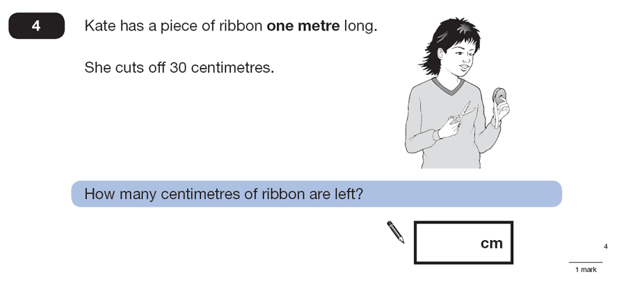 Question 04 Maths KS2 SATs Papers 2007 - Year 6 Exam Paper 1, Numbers, Word Problems, Measurement, Unit Conversions