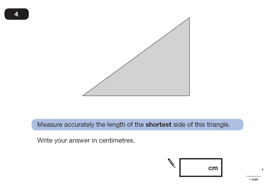 Question 04 Maths KS2 SATs Papers 2007 - Year 6 Exam Paper 2, Geometry, Triangles, Measurement, Ruler Measurement