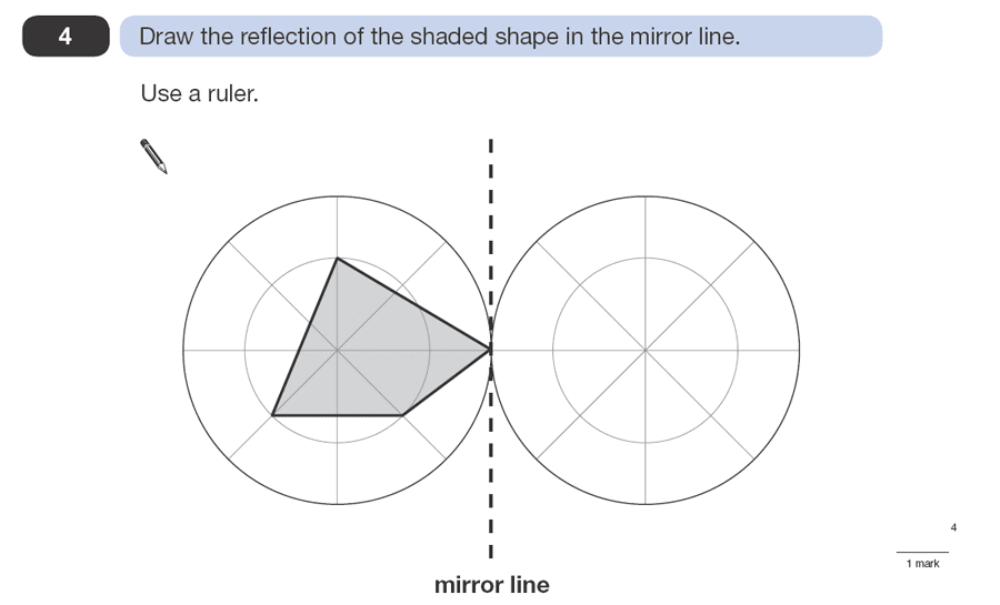Question 04 Maths KS2 SATs Papers 2008 - Year 6 Exam Paper 1, Geometry, 2D shapes, Reflection