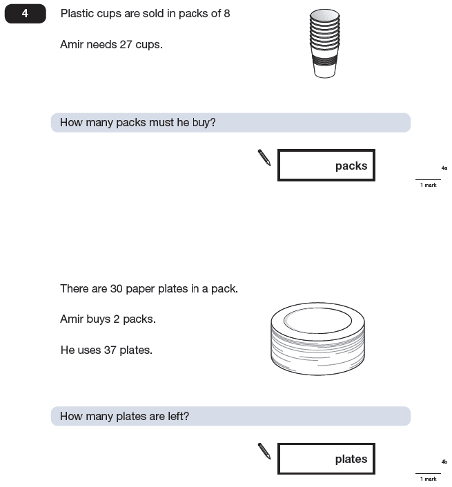 Question 04 Maths KS2 SATs Papers 2009 - Year 6 Exam Paper 2, Numbers, Subtraction, Multiplication, Word Problems, Division