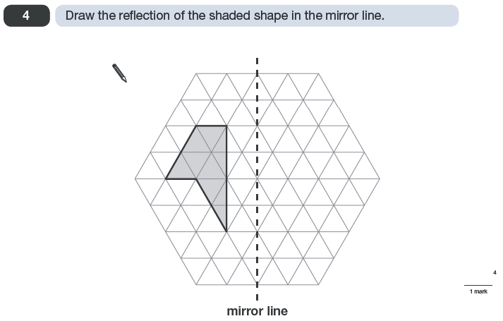 Question 04 Maths KS2 SATs Papers 2010 - Year 6 Exam Paper 2, Geometry, 2D shapes, Reflection