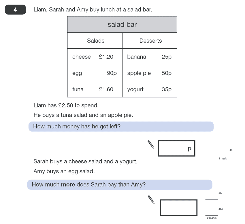 Question 04 Maths KS2 SATs Papers 2010 - Year 6 Past Paper 1, Numbers, Addition, Subtraction, Word Problems, Money