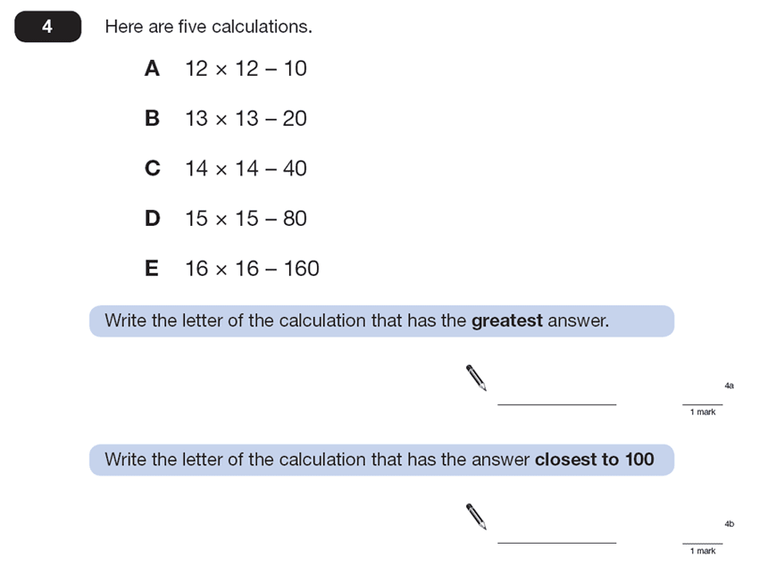Question 04 Maths KS2 SATs Papers 2013 - Year 6 Exam Paper 2, Algebra, BIDMAS