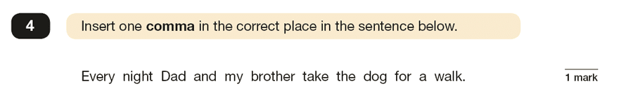 Question 04 SPaG KS2 SATs Papers 2019 - Year 6 English Sample Paper 1, Punctuation