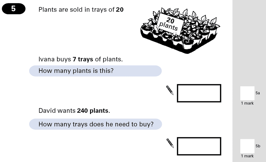 Question 05 Maths KS2 SATs Papers 2001 - Year 6 Exam Paper 2, Numbers, Division, Multiplication, Word Problems