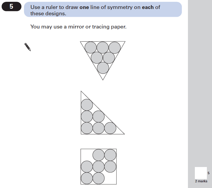 Question 05 Maths KS2 SATs Papers 2002 - Year 6 Exam Paper 2, Geometry, Circle, Triangles, Square, Lines of Symmetry