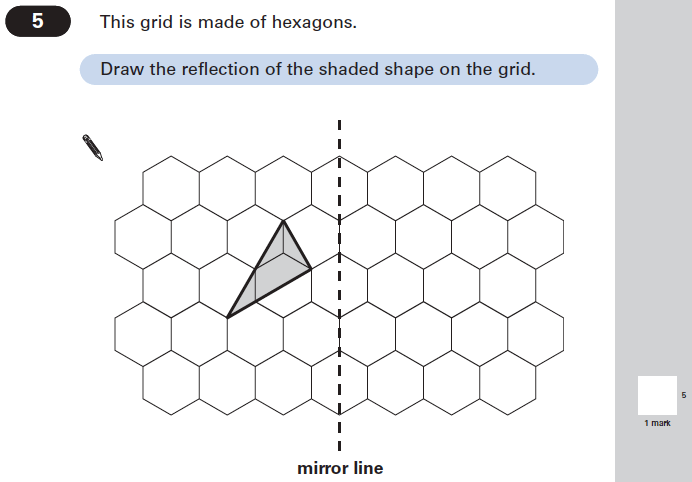 Question 05 Maths KS2 SATs Papers 2005 - Year 6 Practice Paper 2, Geometry, Reflection
