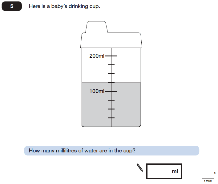 Question 05 Maths KS2 SATs Papers 2006 - Year 6 Practice Paper 2, Measurement, Scale reading