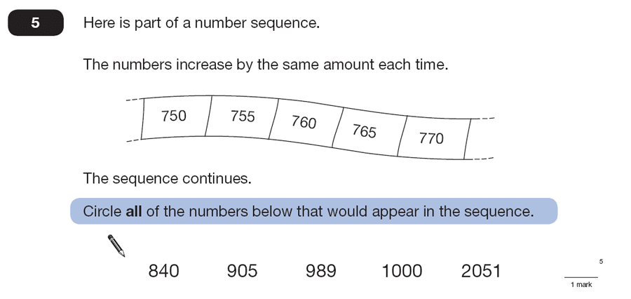 Question 05 Maths KS2 SATs Papers 2007 - Year 6 Past Paper 1, Algebra, Patterns & Sequences