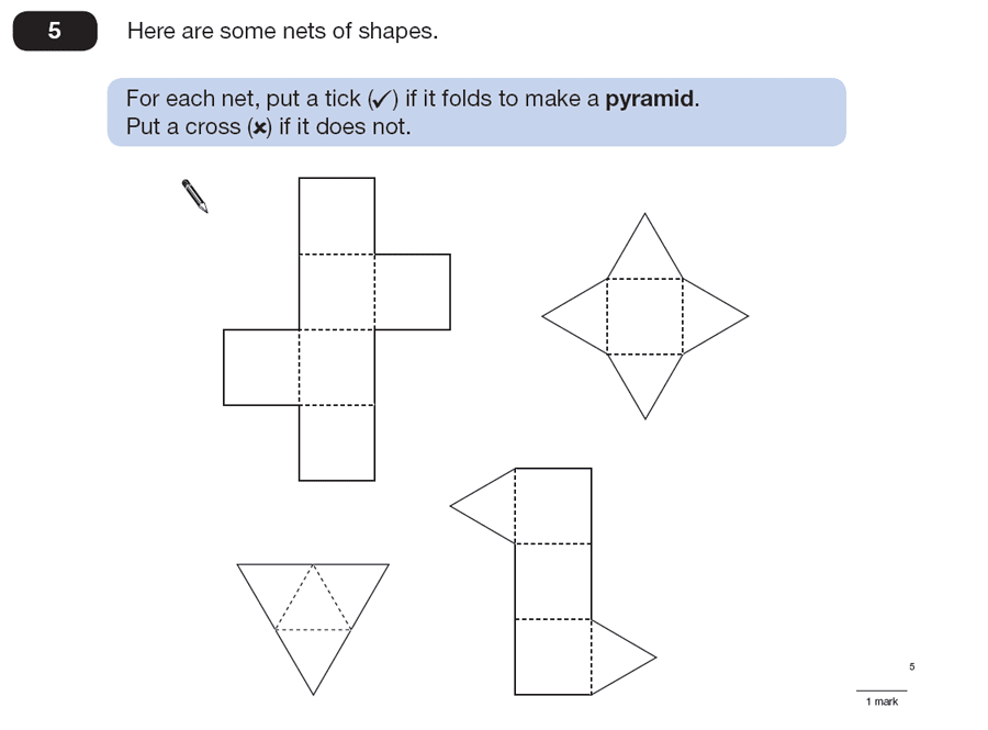 Question 05 Maths KS2 SATs Papers 2008 - Year 6 Past Paper 2, Geometry, 3D shapes, Nets of Solids