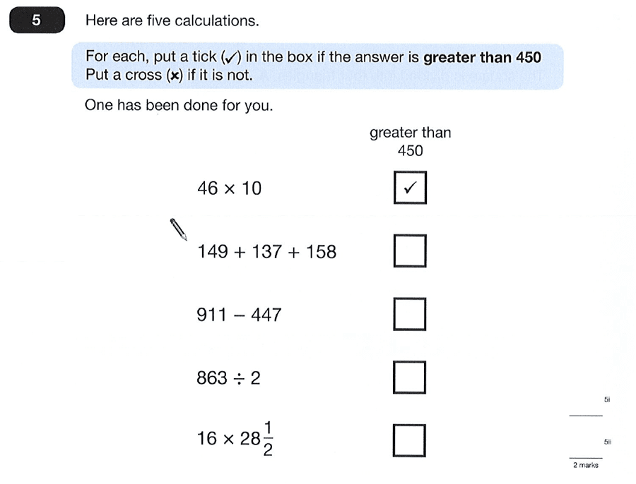 Question 05 Maths KS2 SATs Papers 2012 - Year 6 Past Paper 2, Numbers, Division, Subtraction, Fractions, Multiplication, Addition