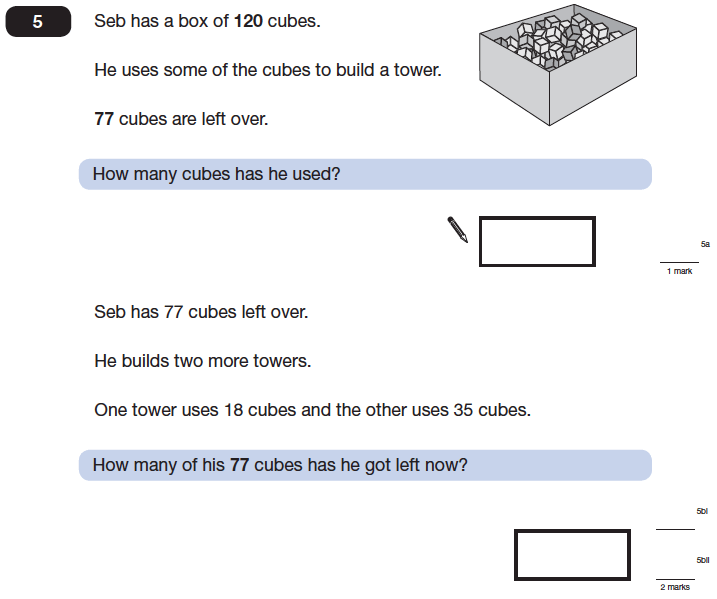 Question 05 Maths KS2 SATs Papers 2014 - Year 6 Past Paper 2, Numbers, Subtraction, Word Problems