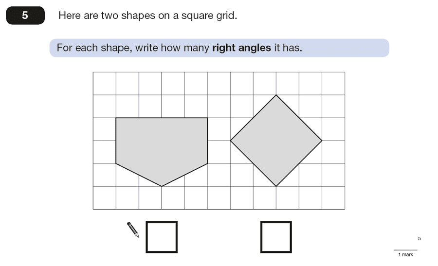 Question 05 Maths KS2 SATs Papers 2015 - Year 6 Past Paper 2, Geometry, Angles, 2D shapes, Perpendiculars