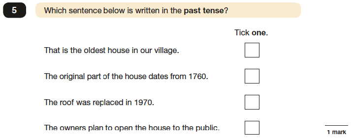 Question 05 SPaG KS2 SATs Papers 2016 - Year 6 English Exam Paper 1, Verb forms, tenses and consistency