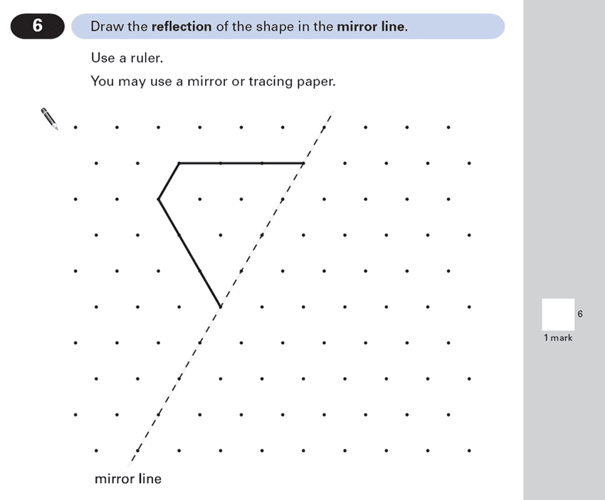 Question 06 Maths KS2 SATs Papers 2000 - Year 6 Past Paper 2, Geometry, Reflection