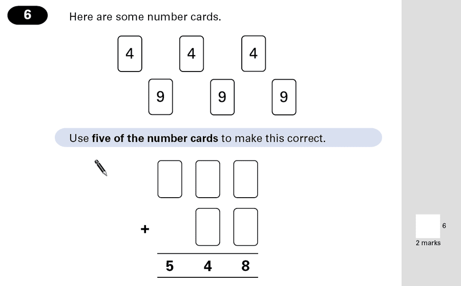 Question 06 Maths KS2 SATs Papers 2001 - Year 6 Past Paper 2, Numbers, Missing Digits, Addition