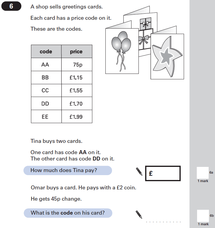 Question 06 Maths KS2 SATs Papers 2002 - Year 6 Past Paper 1, Numbers, Word Problems, Measurement, Currency Conversions, Money, Logical Problems