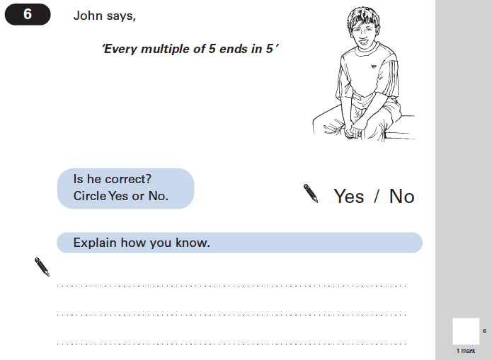Question 06 Maths KS2 SATs Papers 2004 - Year 6 Exam Paper 2, Numbers, Multiples, Logical Problems