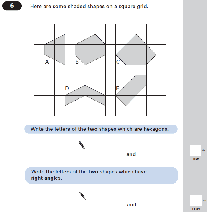 Question 06 Maths KS2 SATs Papers 2005 - Year 6 Past Paper 1, Geometry, 2D shapes, Polygons