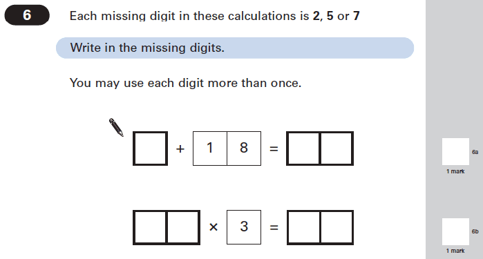 Question 06 Maths KS2 SATs Papers 2005 - Year 6 Past Paper 2, Numbers, Addition, Multiplication, Missing Digits