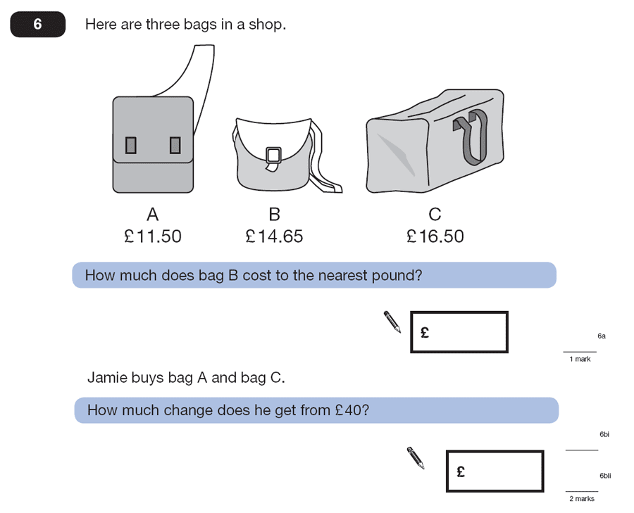 Question 06 Maths KS2 SATs Papers 2007 - Year 6 Sample Paper 1, Numbers, Subtraction, Rounding, Word Problems, Money