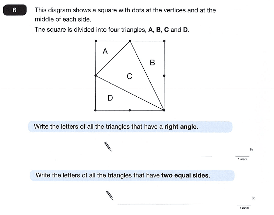 Question 06 Maths KS2 SATs Papers 2012 - Year 6 Sample Paper 2, Geometry, Angles, Triangles, Square