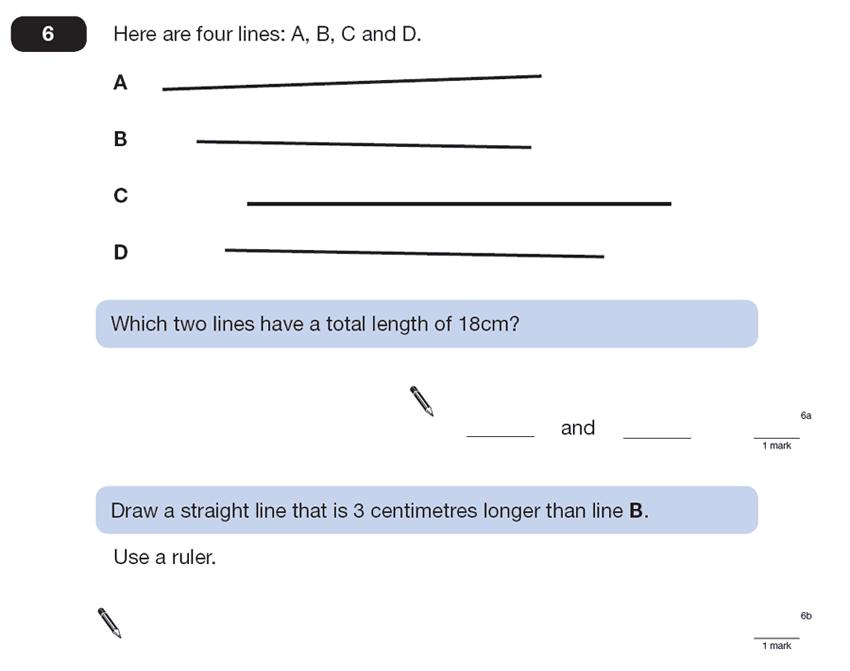 Question 06 Maths KS2 SATs Papers 2013 - Year 6 Sample Paper 2, Measurement, Ruler Measurement